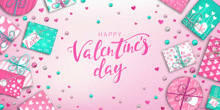 Happy Valentine's day banner with decoration: colorful balls, pink and blue gift box and hearts on pink background. Holiday greeting card, beautiful Invitation, poster on celebration of day love Foto de archivo - 130887802