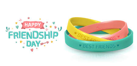 Friendship Day greeting card, happy holiday of amity. Three rubber bracelets for best friends yellow, pink and turquoise. Silicone wristbands and inscription of congratulations on white background Standard-Bild - 131579022