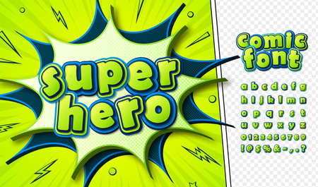 3d letters in pop art style. Multilayer blue-green alphabet for comics book page, decoration of children illustration, headline, posters or banners. Cool retro font. Vector illustration.