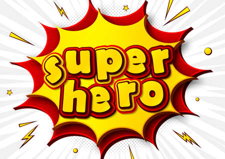 Superhero, cartoon background in comics book and pop art style with speech bubble. Poster with multilayer and multicolored funny yellow-red letters, burst and sound effects. Colorful cool banner.