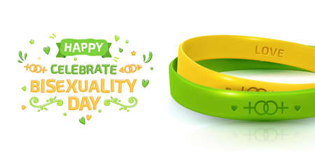 LGBT Pride concept. Yelllow and green rubber bracelets for homosexual people. Silicone wristbands with symbols of gender Lesbian and Gay. Day of bisexuality and International Day for Tolerance poster Archivio Fotografico - 134325120