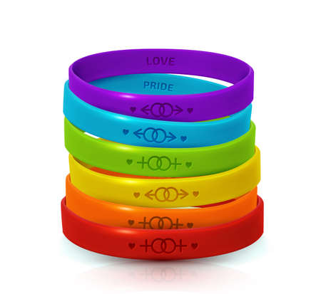 LGBT Pride concept. Rainbow rubber bracelets for homosexualist. Colorful silicone wristbands with symbols of gender Lesbian and Gay. Day of bisexuality and International Day for Tolerance poster Ilustrace