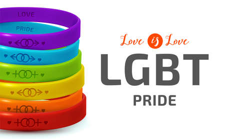 LGBT Pride concept. Rainbow rubber bracelets for homosexual people. Silicone wristbands with symbols of gender Lesbian and Gay. Day of bisexuality and International Day for Tolerance poster