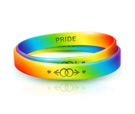 LGBT Pride concept. Two rainbow rubber bracelets for homosexual people. Silicone wristbands with symbols of gender Lesbian and Gay. Day of bisexuality and International Day for Tolerance poster