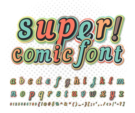 Retro comic font, cartoon kid alphabet in style of comics, pop art. Funny letters, numbers on comic book page for children illustration, poster, banner. Ilustração