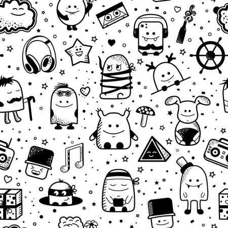 Vector seamless pattern with funny monsters. Cool hand drawn characters on pink white background. Cartoon hand drawn doodles, children seamless background. Set of black and white unusual creatures