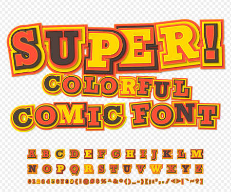 Yellow-red colorful high detail comic font. Alphabet in style of comics, pop art. Multilayer funny letters and figures for decoration of kids illustrations, websites, posters, comics, banners Stock Illustratie