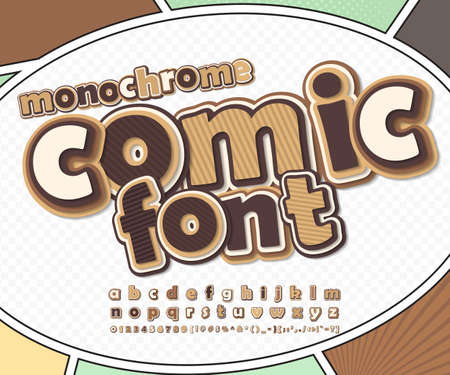 Monochrome chocolate high detail comic font on comic book page. Alphabet in style of comics, pop art. Multilayer funny letters, figures for decoration of kids illustrations, posters, comics, banners Stock Illustratie