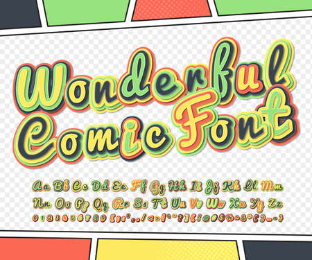 Wonderful colorful high detail comic font on comic book page. Alphabet in style of comics, pop art. Multilayer funny letters, figures for decoration of kids illustrations, posters, comics, banners