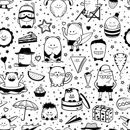 Vector summer seamless pattern with funny monsters, personage. Cool black and white hand drawn characters. Cartoon animals, hand drawn doodles, children seamless background. Set of unusual creatures