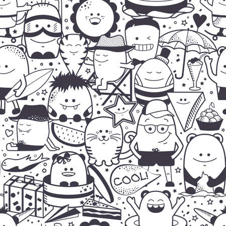 Vector summer seamless pattern with funny monsters, personage. Cool black and white hand drawn characters. Cartoon animals, painted doodles, children seamless background. Set of unusual creatures Ilustracja
