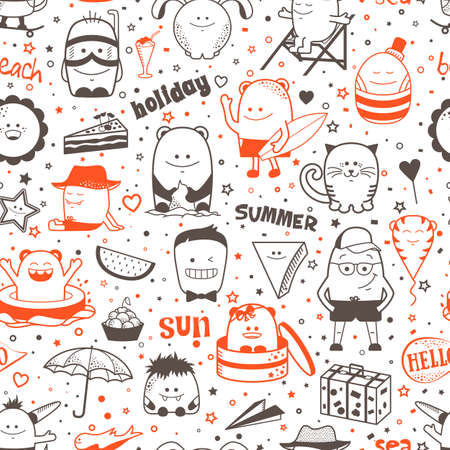 Vector summer seamless pattern with funny monsters, personage. Cool colorful hand drawn characters. Cartoon animals, painted doodles, children seamless background. Set of unusual creatures Ilustracja