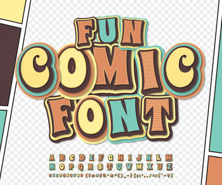 Amazing colorful high detail comic font on comic book page. Alphabet in style of comics, pop art. Multilayer funny letters, figures for decoration of kids illustrations, posters, comics, banners