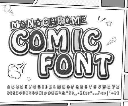 Retro comic font, cartoon kid alphabet in style of comics, pop art. Funny letters, numbers on comic book page for children illustration, poster, banner. Ilustrace