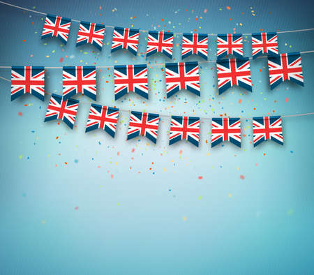 Colorful flags of Great Britain, United Kingdom with confetti on blue background. Festive garland of the British banners, celebration party. Vector banner.