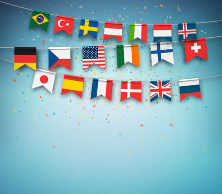 Colorful flags of different countries of the world with confetti on blue background. Festive garland of the international banners, celebration party. Vector banner. Çizim