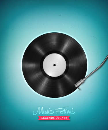 Realistic long-playing LP vinyl record. Vintage vector vinyl gramophone record . Retro music backdrop. Musical illustration for banner, flyer, advertisement, poster, billboard music concerts. Illustration