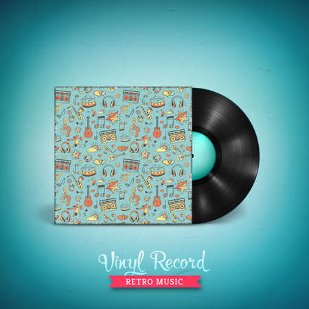 Realistic long-playing LP vinyl record. Vintage vector vinyl gramophone record with cover mockup . Creative musical pattern. Illustration for banner, flyer, poster, billboard music concerts