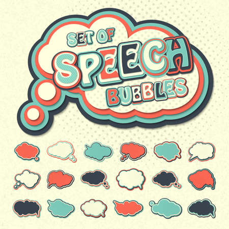 Collection of templates colorful speech bubbles in pop art style. Elements of design comic books. Set of thought or communication bubbles. Vector illustration