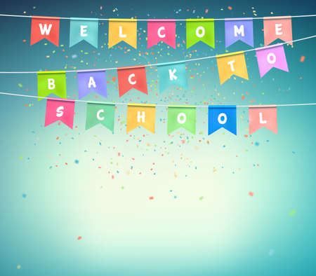 Colorful festive flags with confetti on blue background. Banner with the inscription back to school. Festive garland, celebration party. Vector illustration.. Illustration