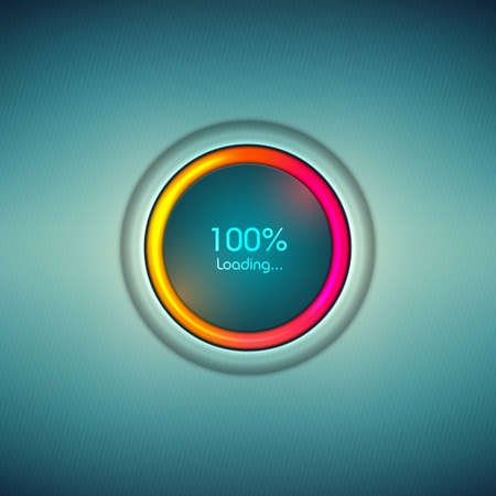 Progress loading icon with colorful scale. Digital sign progress loading bar. Vector abstract symbol for web design template, interface upload. Vector illustration.