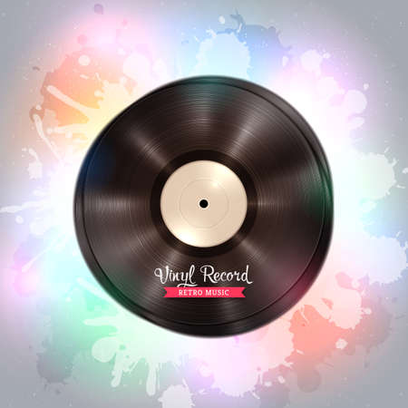 Realistic long-playing LP vinyl record. Vintage vinyl gramophone record, backdrop with disco lights. Music poster