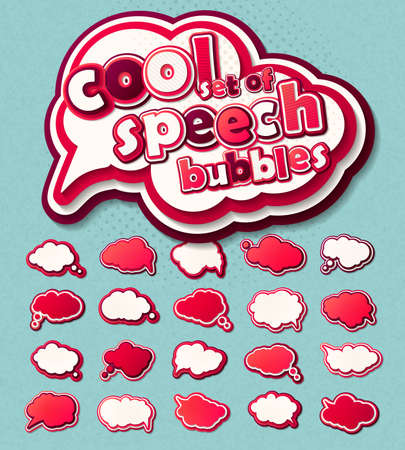 Collection of templates pink - white speech bubbles in pop art style. Elements of design comic books. Set of thought or communication bubbles. Vector illustration