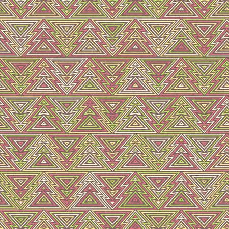 Abstract seamless background. Repeating pattern of Christmas trees in outline linear style. Colorful geometric pattern, retro texture, hipster fashion design.