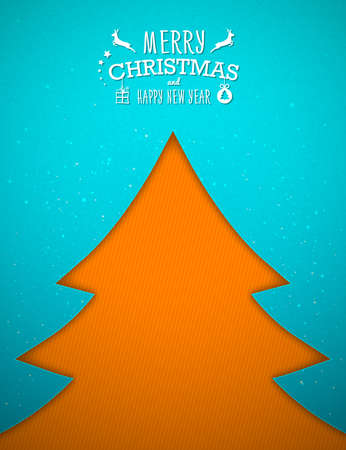 Paper art Christmas tree on blue background. Greeting card happy new year, winter holiday. Vector illustration for your design.