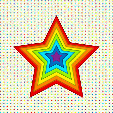 Applique stars of the paper in rainbow colors. Creative abstract background for your design Illusztráció