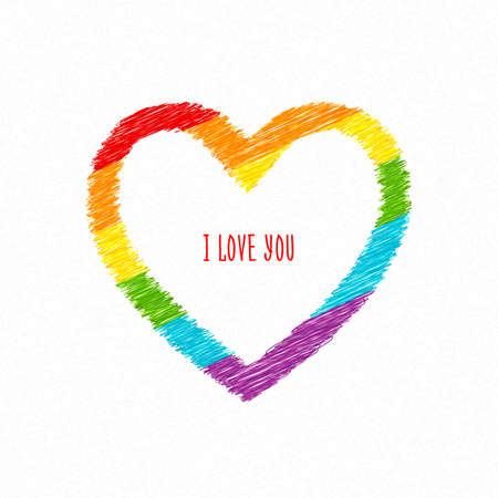 Rainbow heart with i love you inscription. Sketch pencil drawing. Vector doodles Çizim