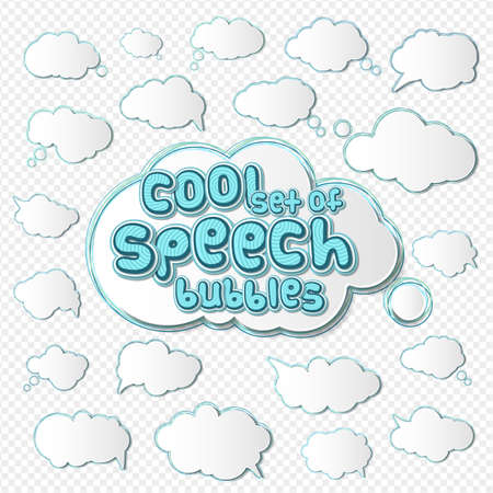 Collection of templates speech bubbles in pop art style. Elements of design comic books. Set of thought or communication bubbles. Vector illustration