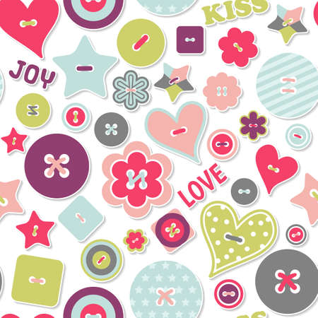 Seamless pattern happy Valentine s day. Holiday background with colorful buttons and words Love, Kiss, Joy. Background for February 14, mother day, birthday. Texture for wrapping paper, greeting card