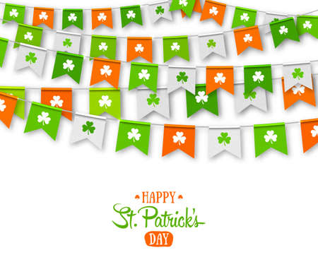 Irish holiday - happy Saint Patrick s Day backdrop with garland flags. Colorful festive bunting with clover on white background. Vector illustration for greeting card, poster, celebration banner Ilustrace