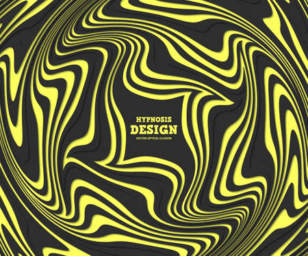 Optical illusion, abstract background. Black-yellow hypnosis twisted spiral design concept for banner design. Vector colorful striped swirl. Hypnotic wavy pattern Illustration