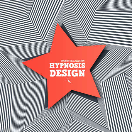 Abstract star optical illusion. Creative banner with geometric lines and 3d effect. Hypnosis infinity pattern for cover, poster, promo, web. Vector black - white striped with red star. Wavy design Stock Illustratie