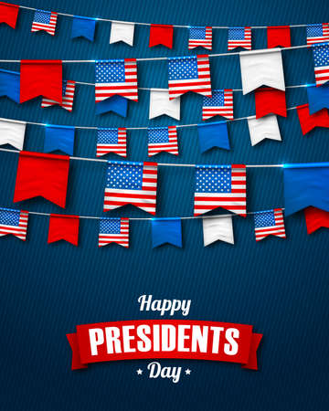 Vector banner for celebrate Presidents day. Colorful festive garlands of USA flags on dark blue backdrop. Decorative patriotic background with bunting flags for national holidays in America.