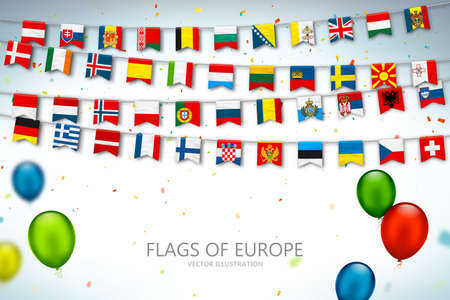 Colorful flags of different countries of the europe and world with confetti and balloons. Festive garlands of the international pennant. Bunting flags. Vector banner for celebration party, conference Çizim