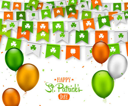 Irish holiday - happy Saint Patrick s Day background with garland flags. Colorful festive bunting with clover and balloons on white. Vector illustration for greeting card, poster, celebration banner Ilustrace