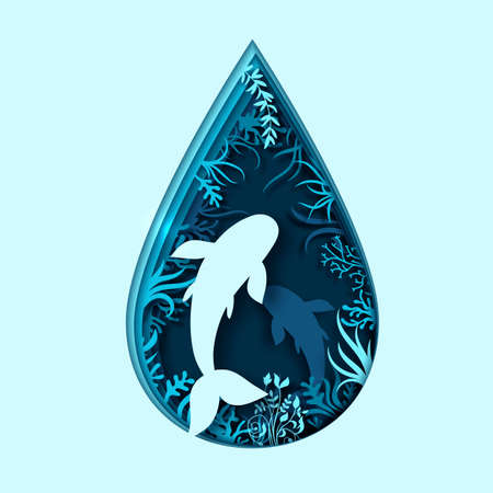 Paper art concept of World Oceans Day. Celebration dedicated to help protect, conserve world oceans. Blue 3d origami craft paper of water drop, fish, plants. Creative marine summer poster, sea life Çizim
