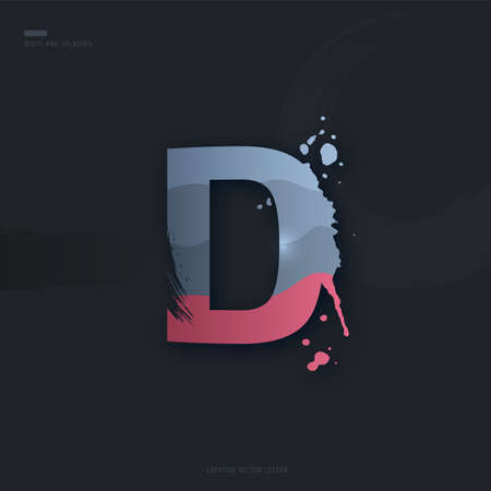 Beautiful pink grey Letter of font. Creative Letter D with brush strokes, drops, splashes and spray. Liquid character of English alphabet on dark background. Vector modern design element for your art Stock Illustratie