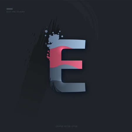 Beautiful pink grey Letter of font. Creative Letter E with brush strokes, drops, splashes and spray. Liquid character of English alphabet on dark background. Vector modern design element for your art Çizim