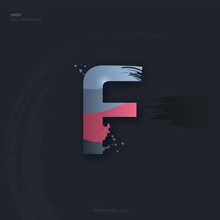 Beautiful pink grey Letter of font. Creative Letter F with brush strokes, drops, splashes and spray. Liquid character of English alphabet on dark background. Vector modern design element for your art