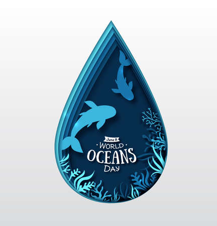 Paper art concept of World Oceans Day. Celebration dedicated to help protect, and conserve world oceans, water, ecosystem. Blue 3d origami craft paper of water drop, fish and marine plants, sea life