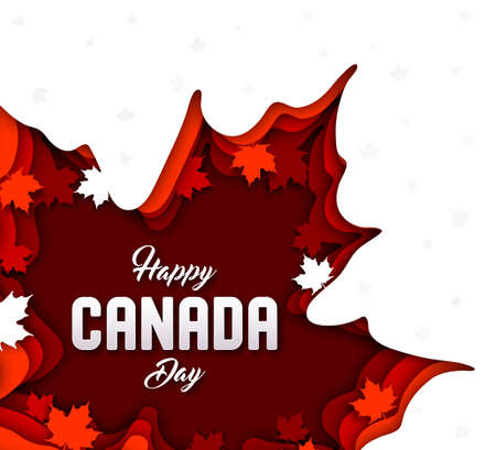 Paper art with multilayer canadian maple leaves and lettering Happy Canada day, national holiday. Greeting card, poster for public celebration, festival. Red 3d origami, paper cut and craft style