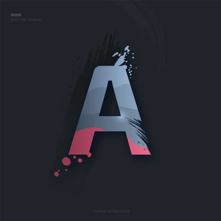 Beautiful pink grey Letter of font. Creative Letter A with brush strokes, drops, splashes and spray. Liquid character of English alphabet on dark background. Vector modern design element for your art Çizim