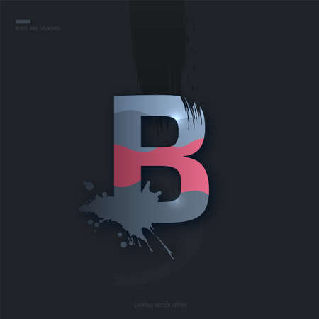 Beautiful pink grey Letter of font. Creative Letter B with brush strokes, drops, splashes and spray. Liquid character of English alphabet on dark background. Vector modern design element for your art Çizim