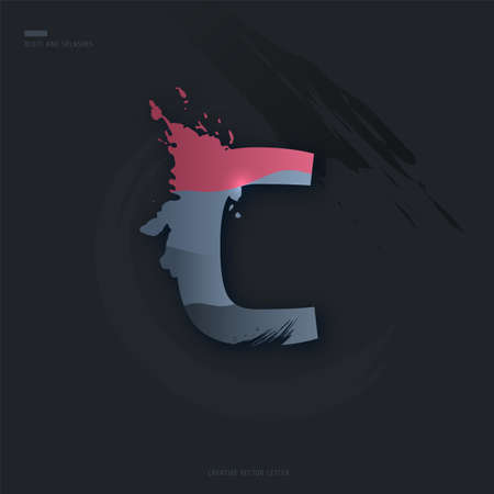 Beautiful pink grey Letter of font. Creative Letter C with brush strokes, drops, splashes and spray. Liquid character of English alphabet on dark background. Vector modern design element for your art