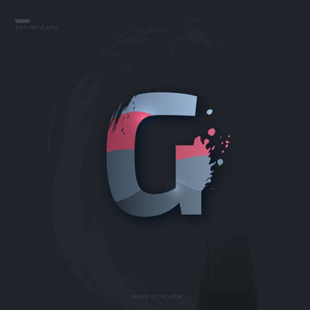 Beautiful pink grey Letter of font. Creative Letter G with brush strokes, drops, splashes and spray. Liquid character of English alphabet on dark background. Vector modern design element for your art
