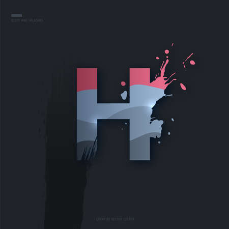 Beautiful pink grey Letter of font. Creative Letter H with brush strokes, drops, splashes and spray. Liquid character of English alphabet on dark background. Vector modern design element for your art Çizim